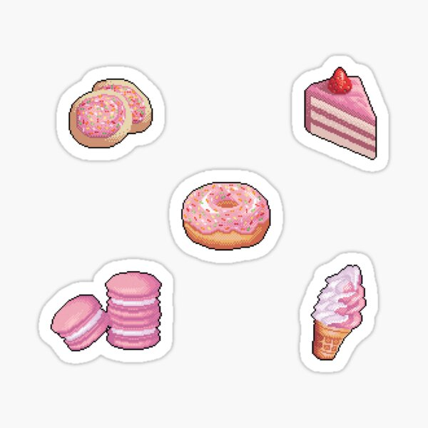 Pixel Pink desserts sticker set Sticker
