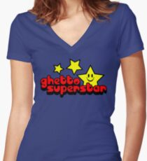 Ghetto Superstar Funny Quote Women's Fitted V-Neck T-Shirt
