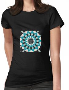 Teal Blue, Grey and White Floral Abstract T-Shirt