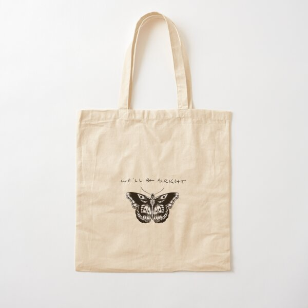We'll Be Alright Harry Styles Handwriting and Butterfly Tattoo Sticker Pink Cotton Tote Bag
