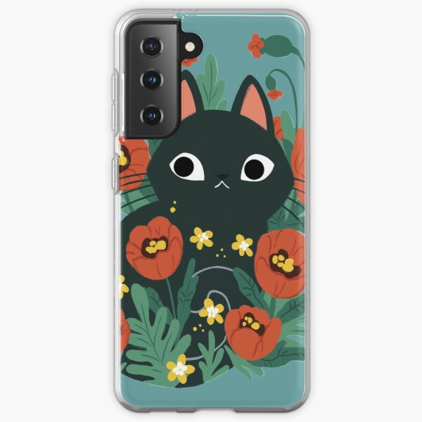 Cat in Poppy Flowers  Samsung Galaxy Soft Case