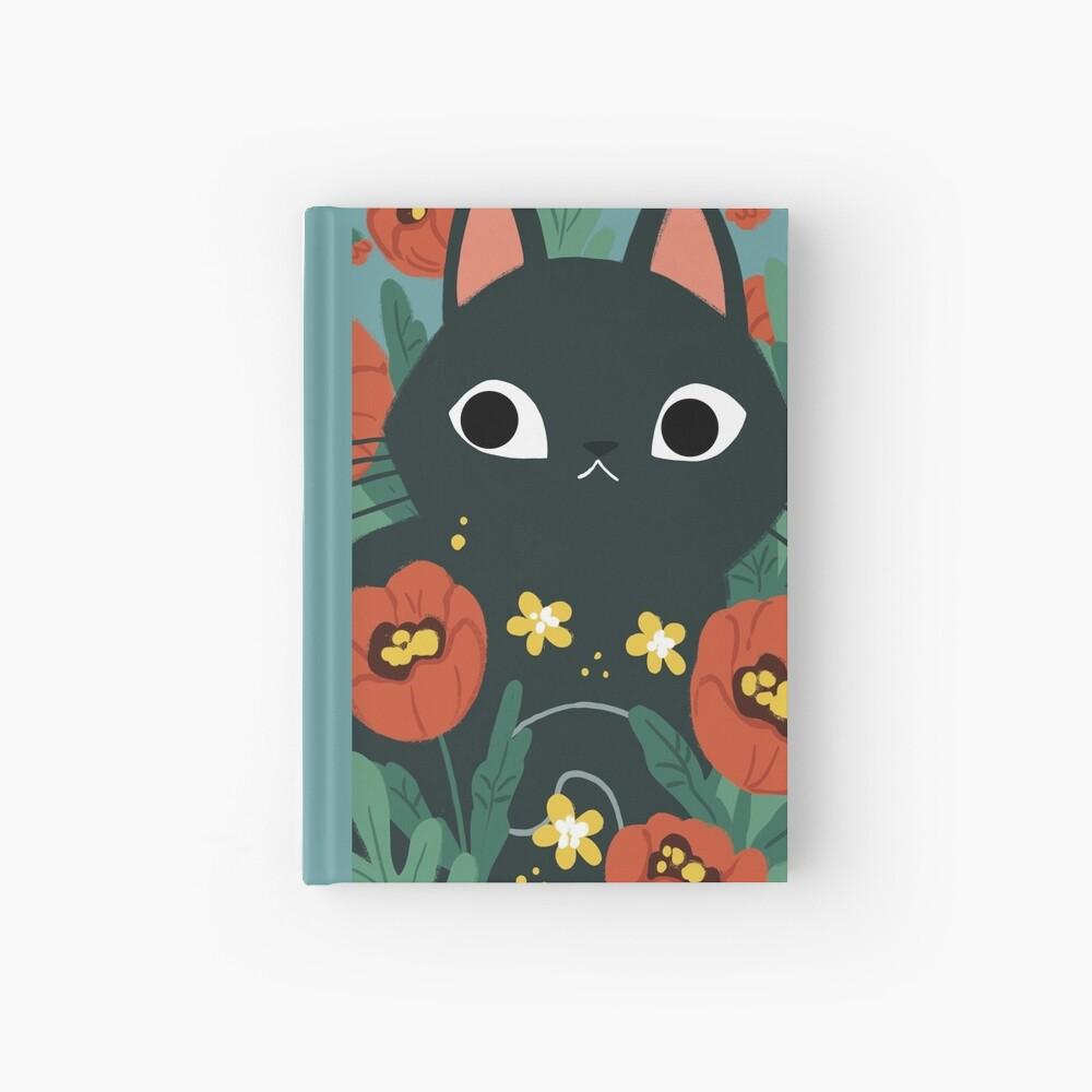 Cat in Poppy Flowers  Hardcover Journal