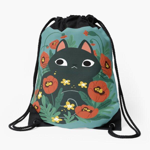Cat in Poppy Flowers  Drawstring Bag