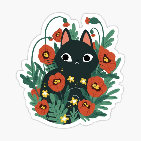 Cat in Poppy Flowers  Sticker