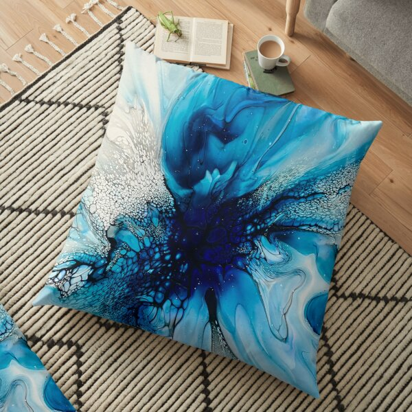 Purple, Blue, Black and White Abstract Fluid Art Painting. Pour Art. Floor Pillow