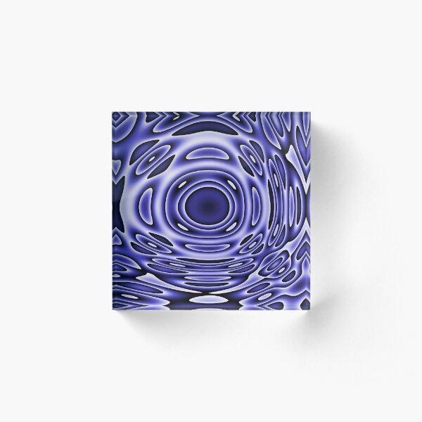 Psychodelia Purple Black and White Groovy Art - Trippy Gift Acrylic Block