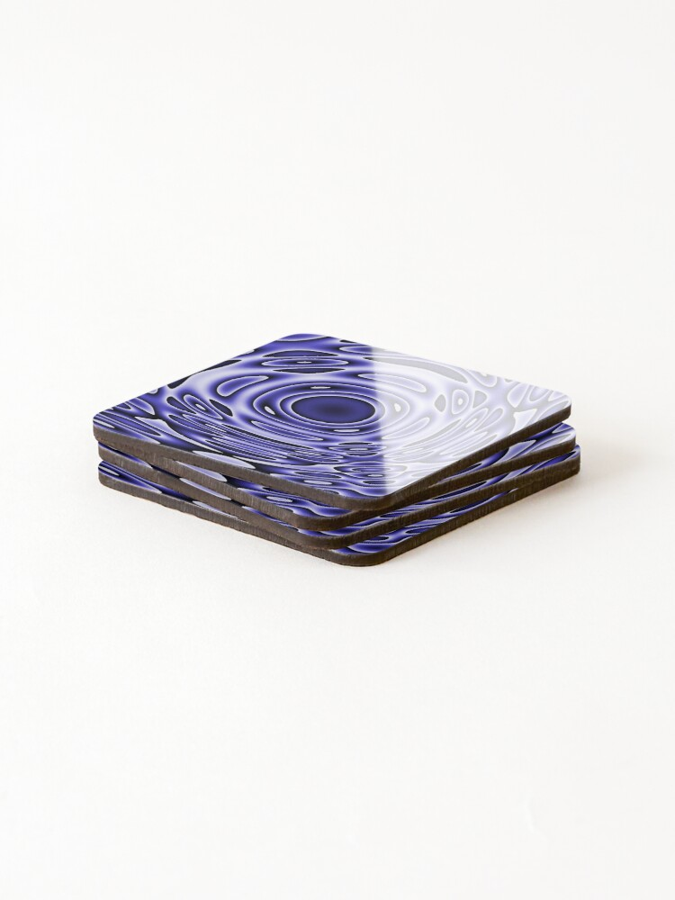 Alternate view of Psychodelia Purple Black and White Groovy Art - Trippy Gift Coasters (Set of 4)