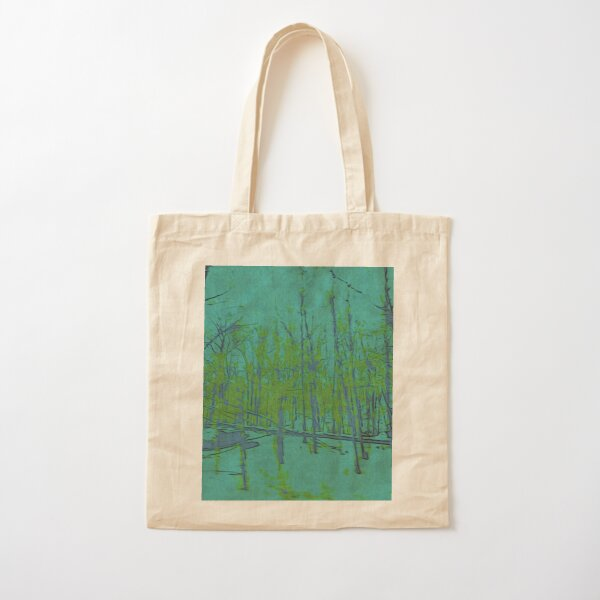 Nature Lovers Gift - Into the Woods - Teal Blue Green Abstract Nature Art Cotton Tote Bag
