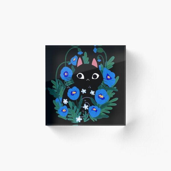 Blue Flower Black Cat Acrylic Block