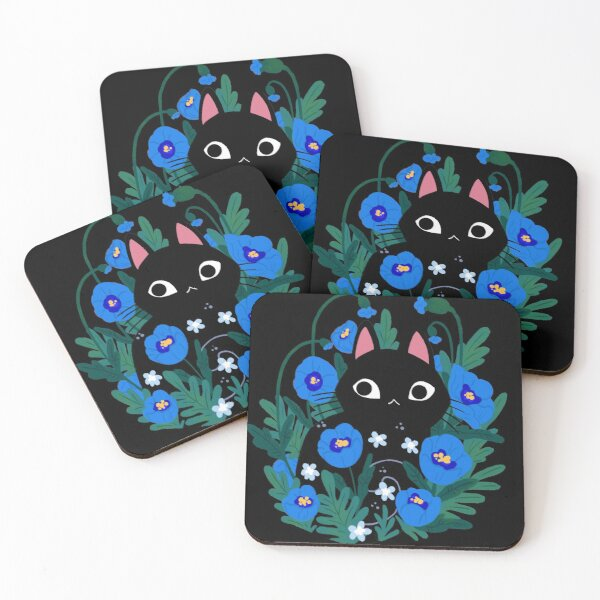 Blue Flower Black Cat Coasters (Set of 4)