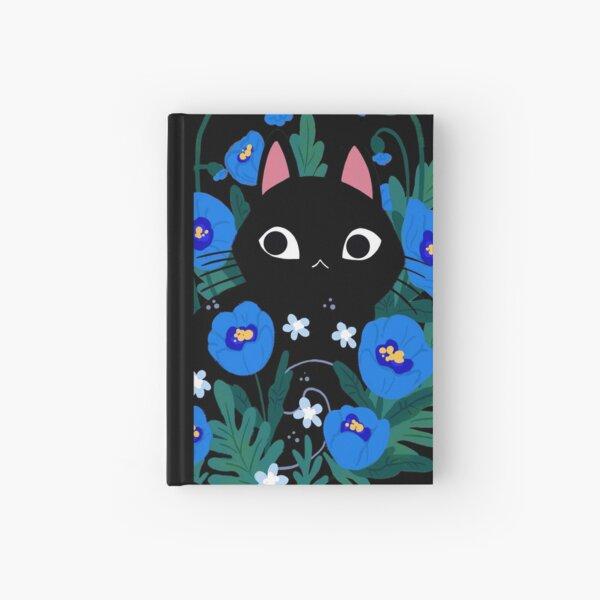 Blue Flower Black Cat Hardcover Journal