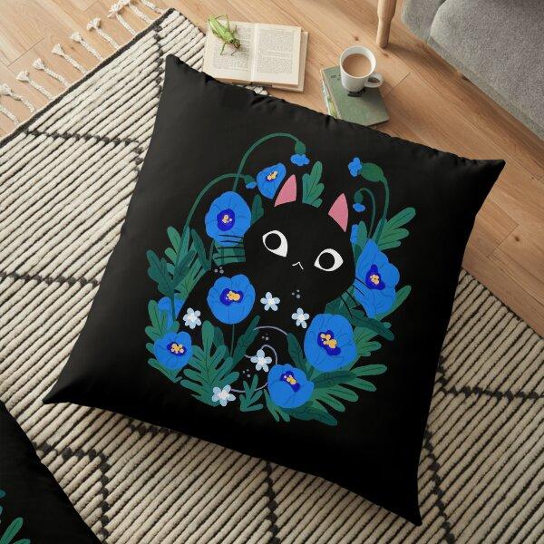 Blue Flower Black Cat Floor Pillow
