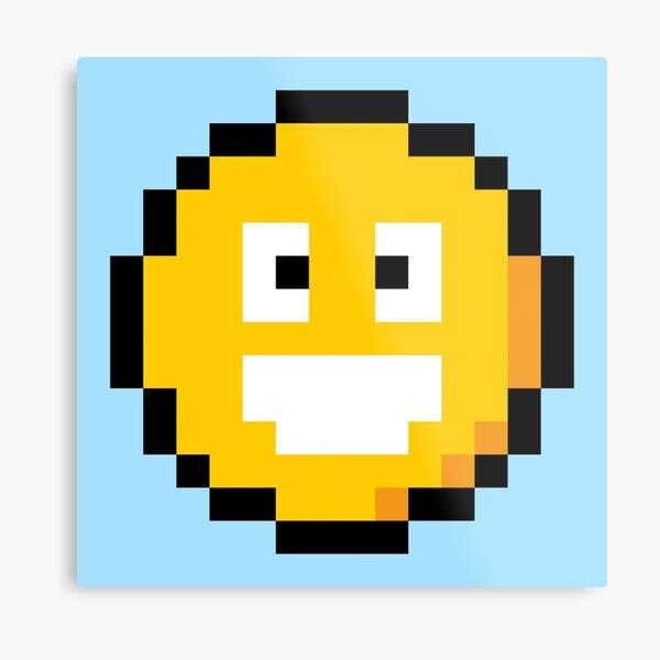 Pixel Smiley Metal Print