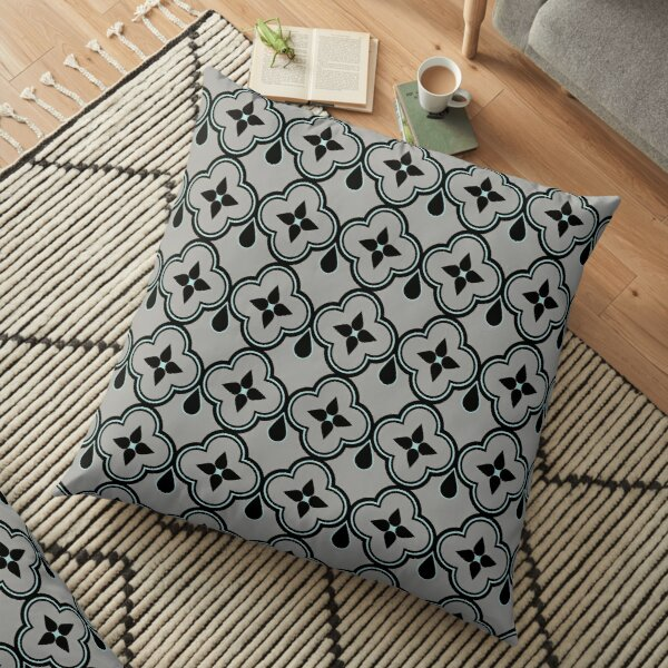 Black and Gray with Teal Moroccan Tile Print  Floor Pillow
