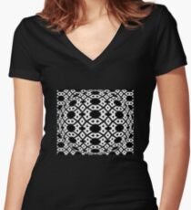 Diamond and Circles Black and White Pattern Women's Fitted V-Neck T-Shirt