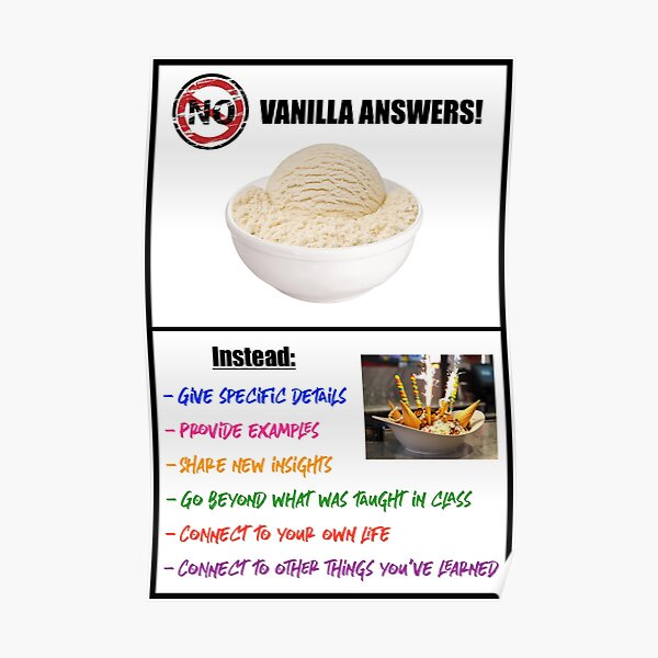 No Vanilla Answers! Poster