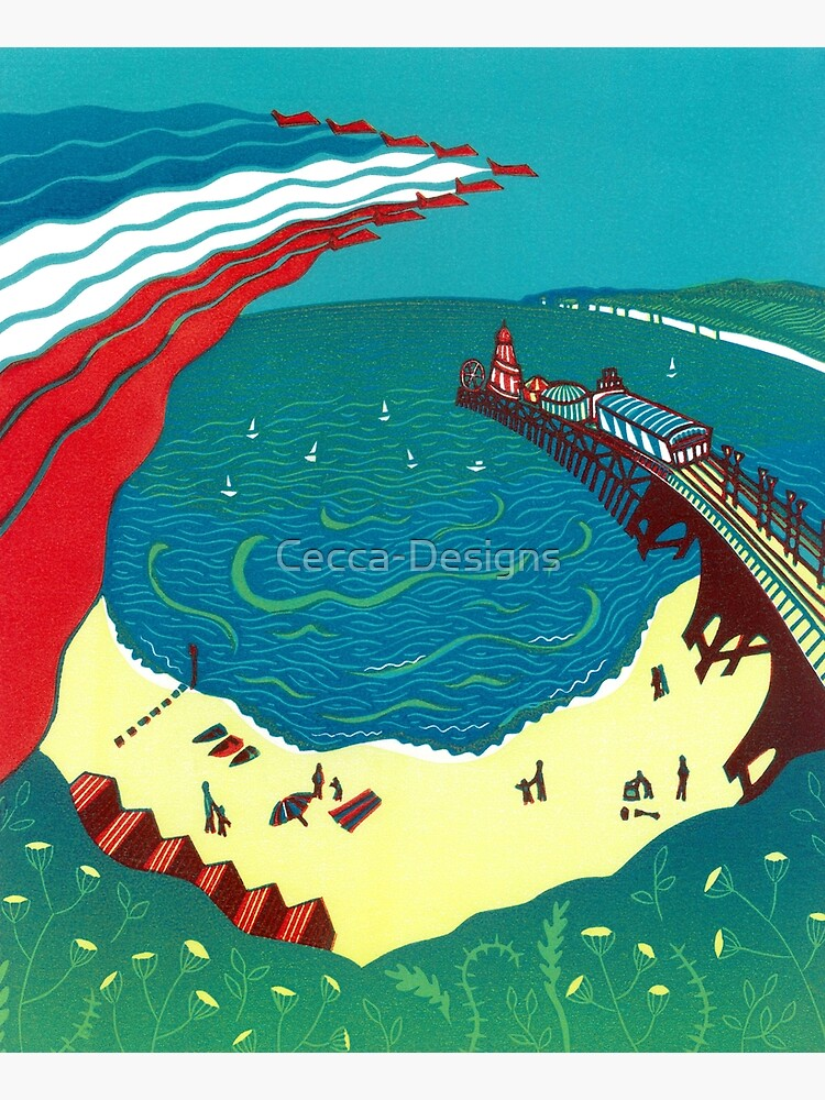 Red Arrows, Bournemouth Beach - Original linocut by Francesca Whetnall by Cecca-Designs