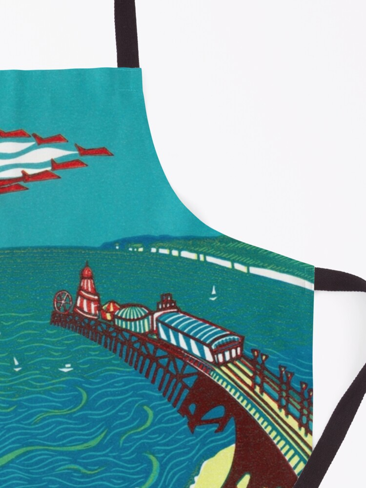 Alternate view of Red Arrows, Bournemouth Beach - Original linocut by Francesca Whetnall Apron