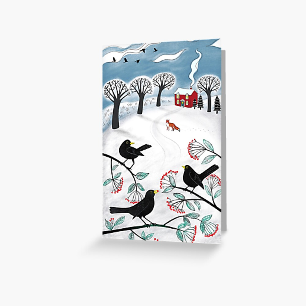 Blackbirds in the Snow - Winter landscape by Cecca Designs Greeting Card