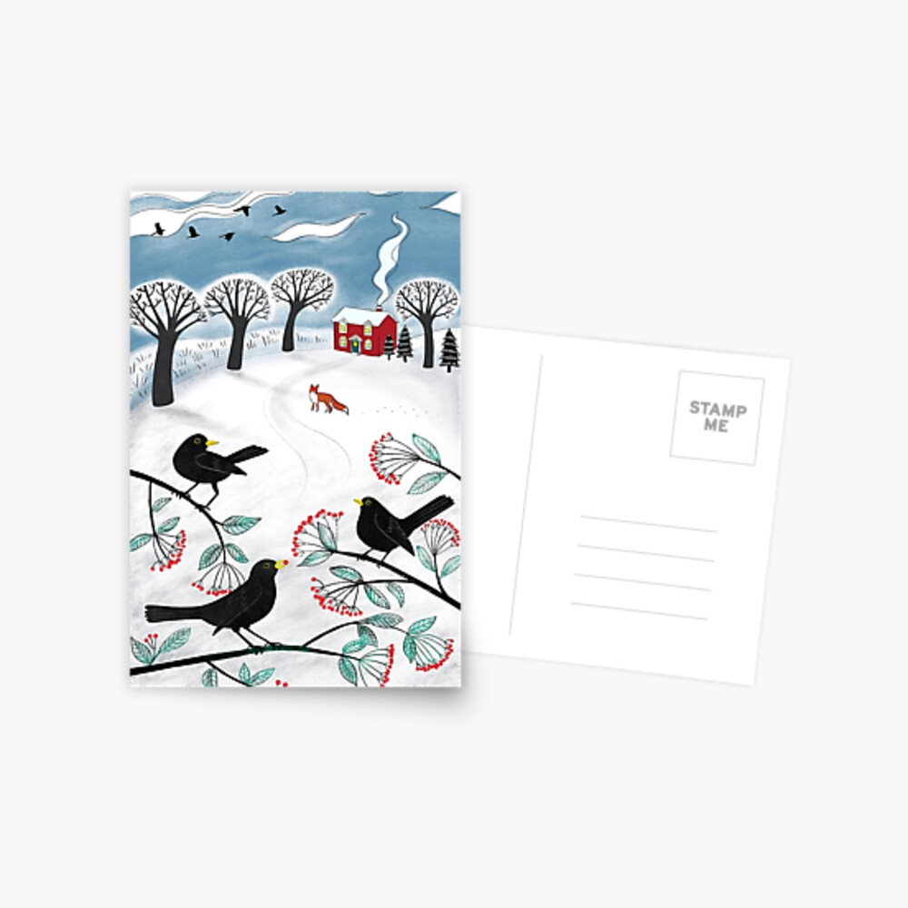 Blackbirds in the Snow - Winter landscape by Cecca Designs Postcard