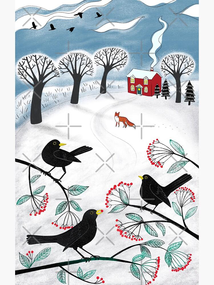 Blackbirds in the Snow - Winter landscape by Cecca Designs by Cecca-Designs