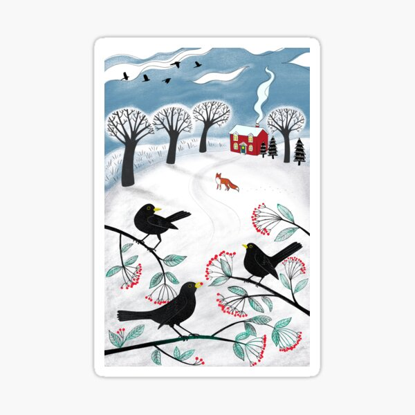Blackbirds in the Snow - Winter landscape by Cecca Designs Sticker