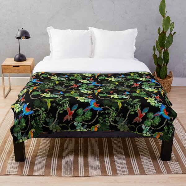 Parrots with gold chains and tropic leaves Throw Blanket