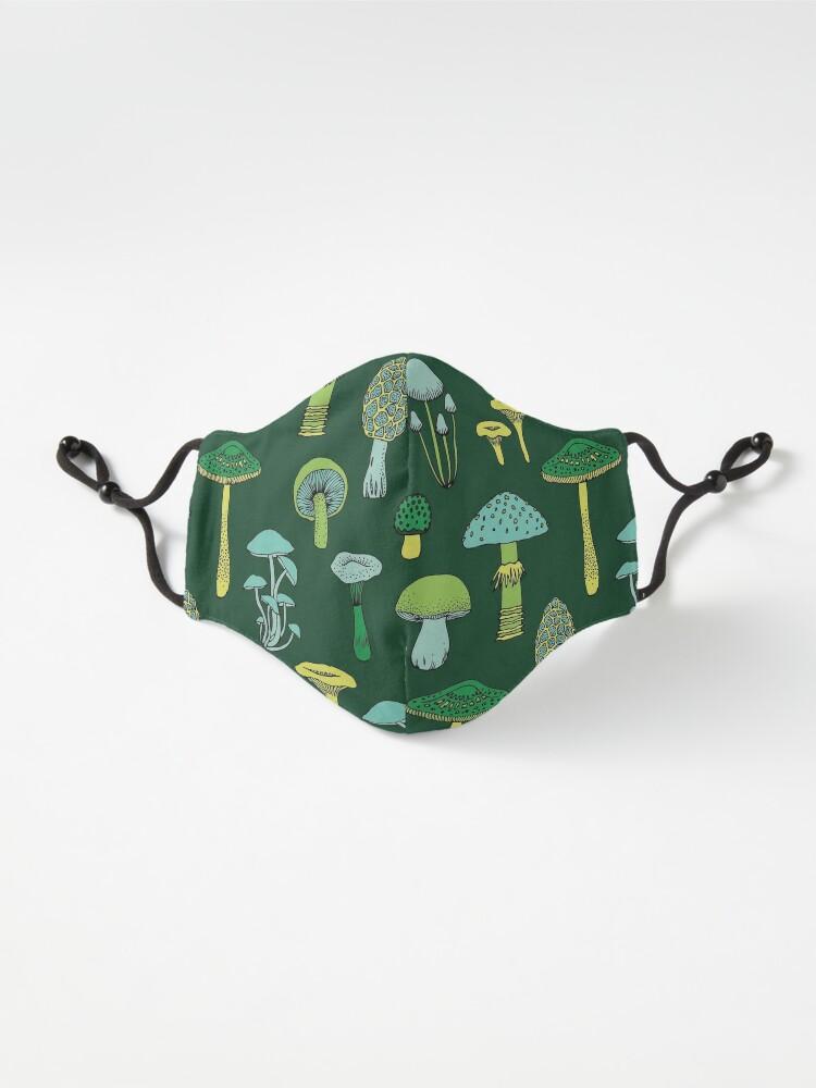 Alternate view of Midnight Mushrooms - Green - fun fungus pattern by Cecca Designs Mask