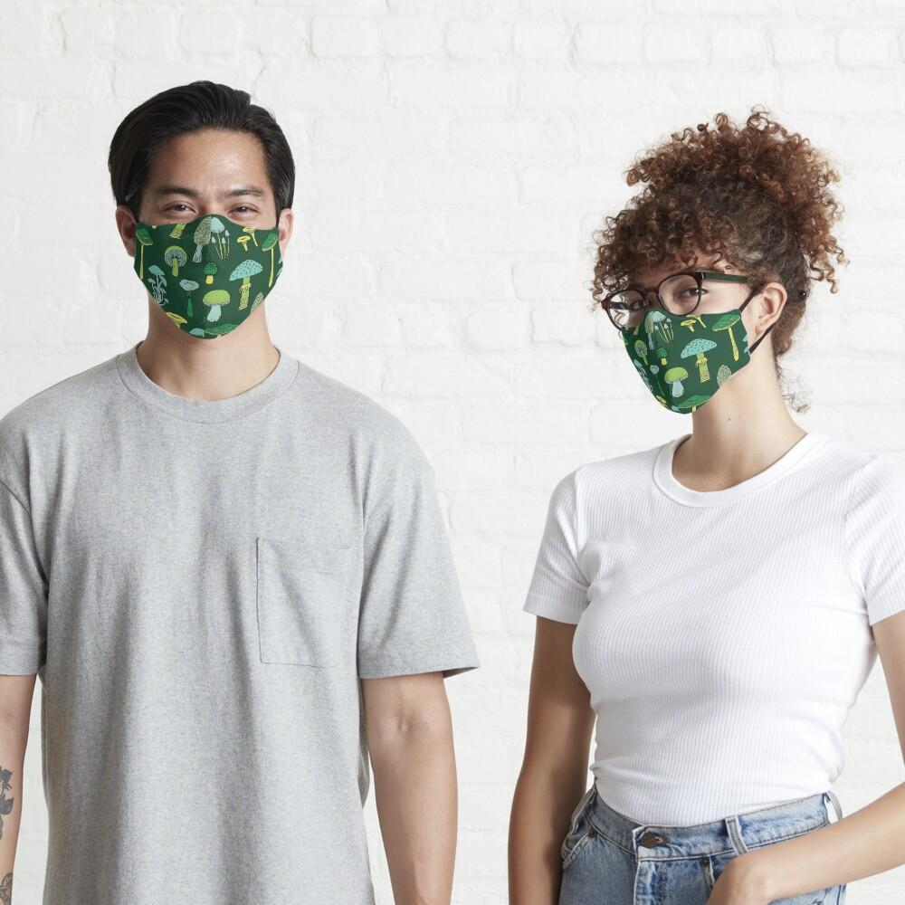 Midnight Mushrooms - Green - fun fungus pattern by Cecca Designs Mask