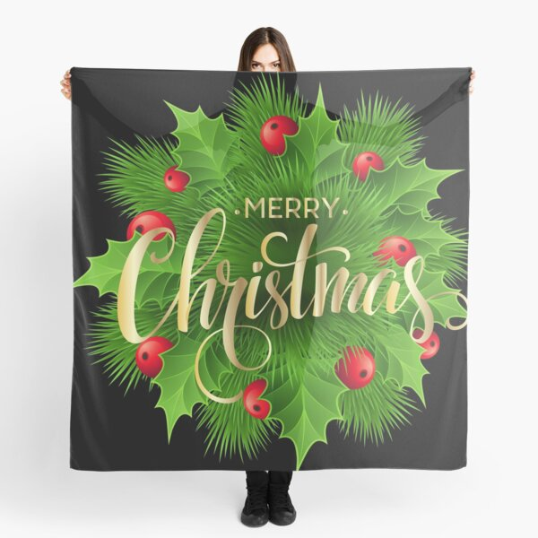 green and red wreath with merry christmas text overlay, Christmas , Merry Christmas Pine Decoration Scarf