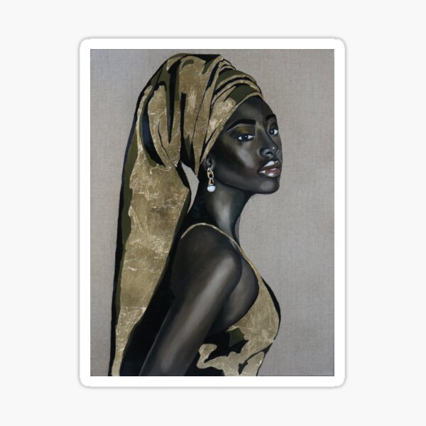 Black girl with that pearl earring Sticker