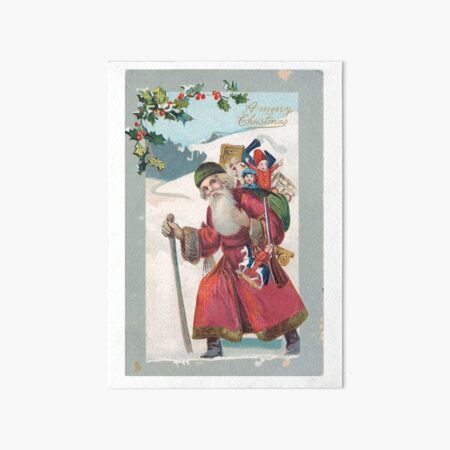 "Vintage ""A Merry Christmas"" Postcard (1909) Art Board Print"