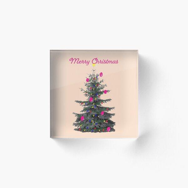 Merry Christmas Pink Vintage Acrylic Block