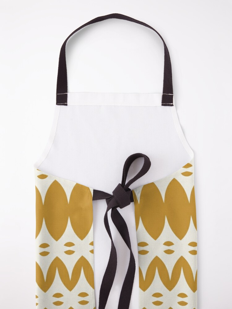Alternate view of Icelandic Knit Pattern in Dark Mustard and Cream Apron