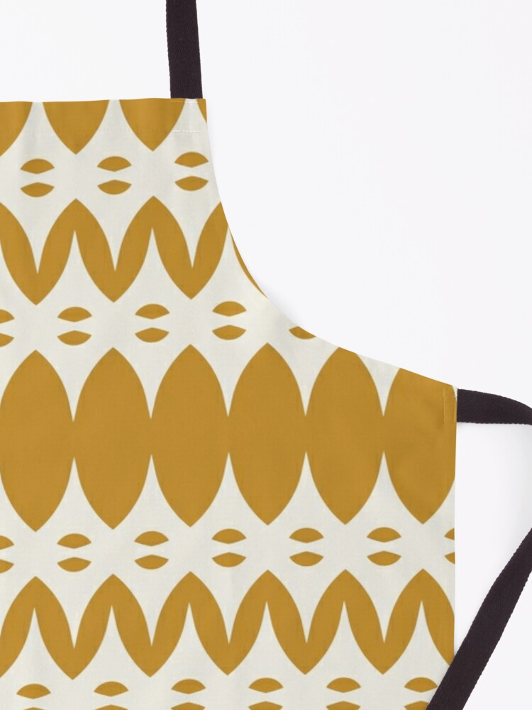 Alternate view of Icelandic Knit Pattern in Dark Mustard and Cream Apron