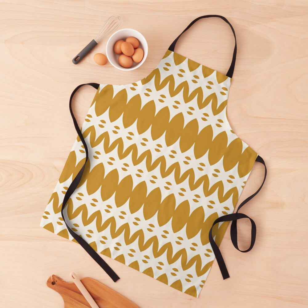 Icelandic Knit Pattern in Dark Mustard and Cream Apron