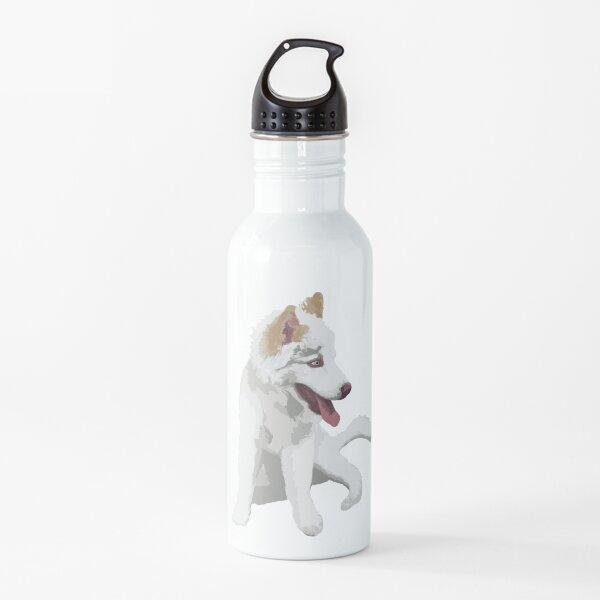 Husky sentado Botella de agua
