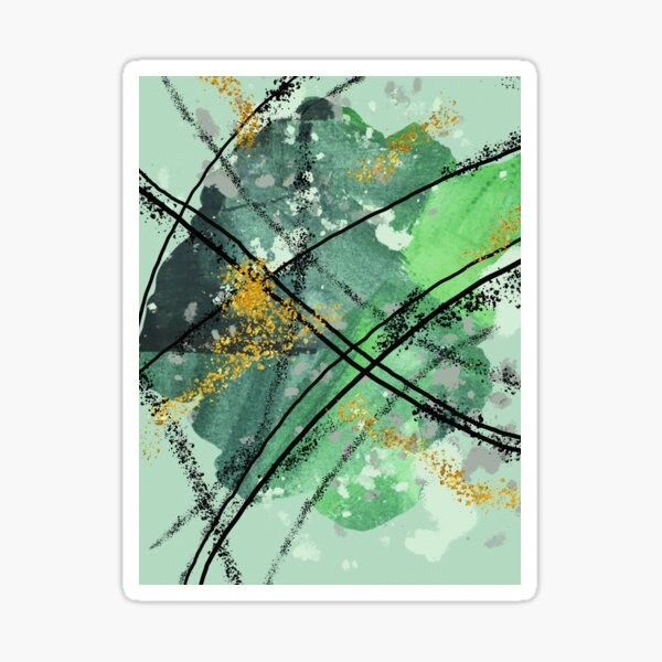 Green Glitter Abstract Painting Sticker