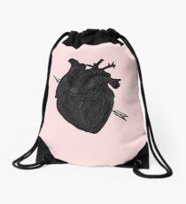 Arrow Through Heart Drawstring Bag