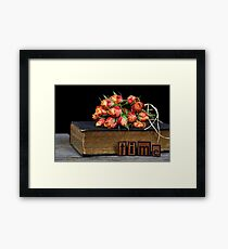 orange rose bouquet on vintage book Framed Print