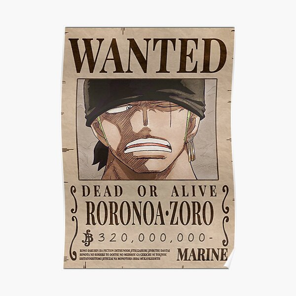 Zoro wanted poster - one piece Poster