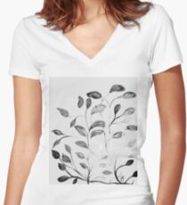 Red and Green Leaves! Romantic Silver Grey! Women's Fitted V-Neck T-Shirt