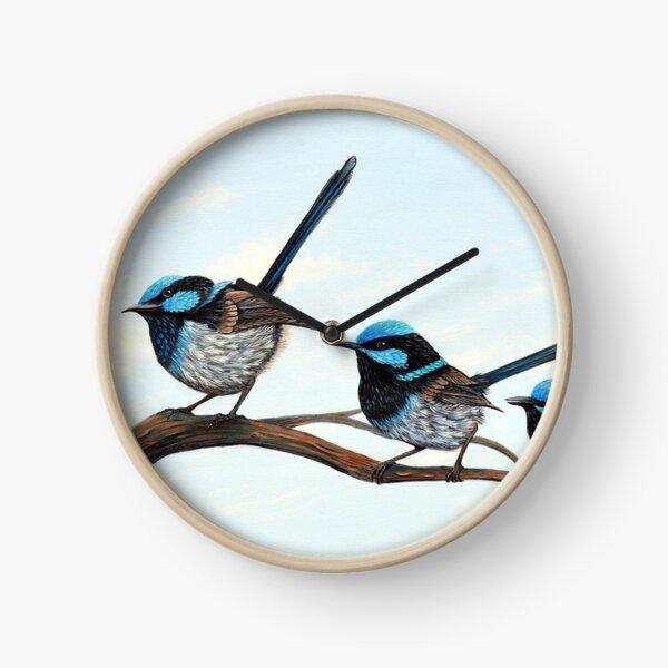 Curious Fairy Wrens Clock