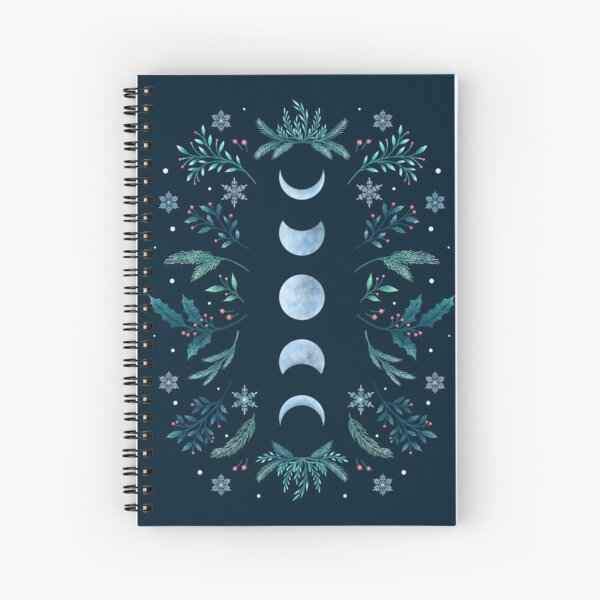 Moonlit Garden-Teal Snow Spiral Notebook