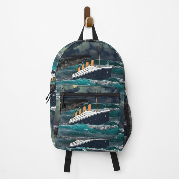 A digital painting of an Iconic Steamship Fighting Heavy Weather 1912 Backpack