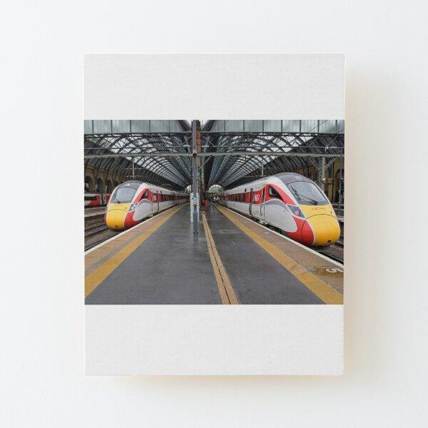 LNER Azuma trains at Kings Cross Wood Mounted Print