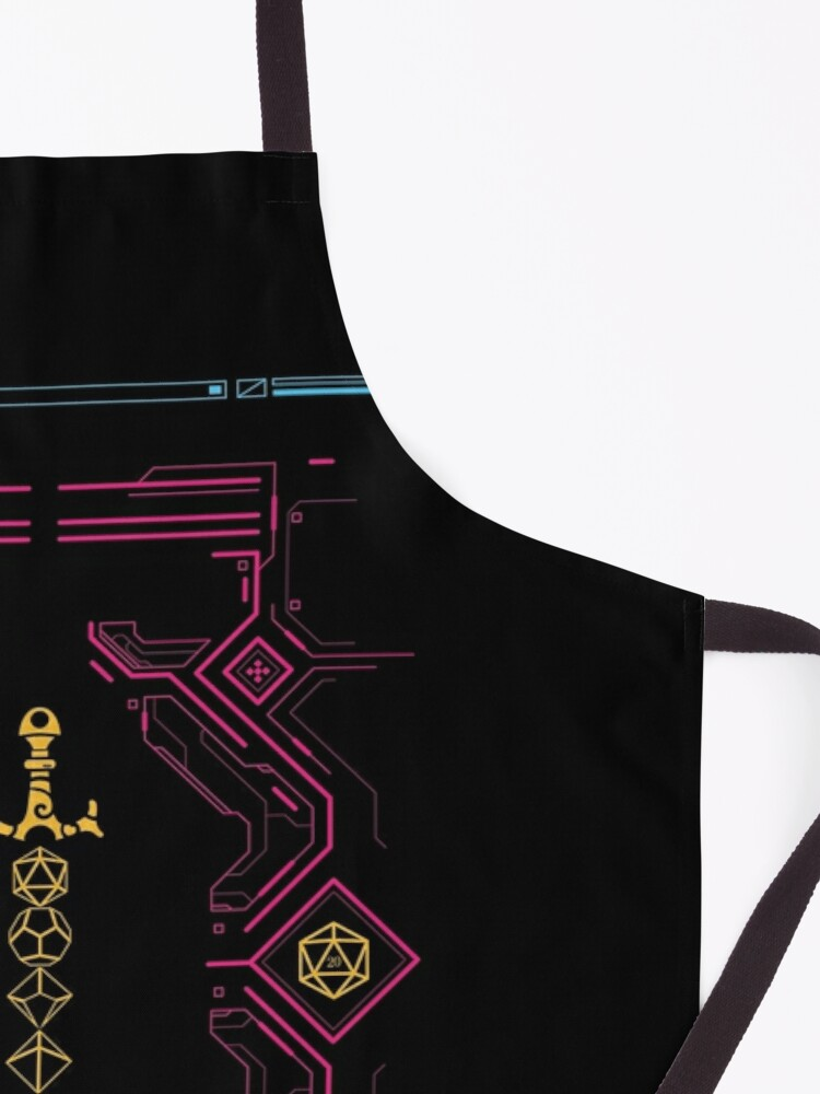Alternate view of Polyhedral Dice Sword Synthwave Colors Neon Apron