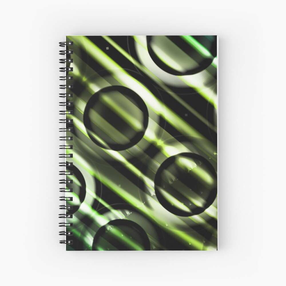 Green Yellow Blue Circles Design Spiral Notebook