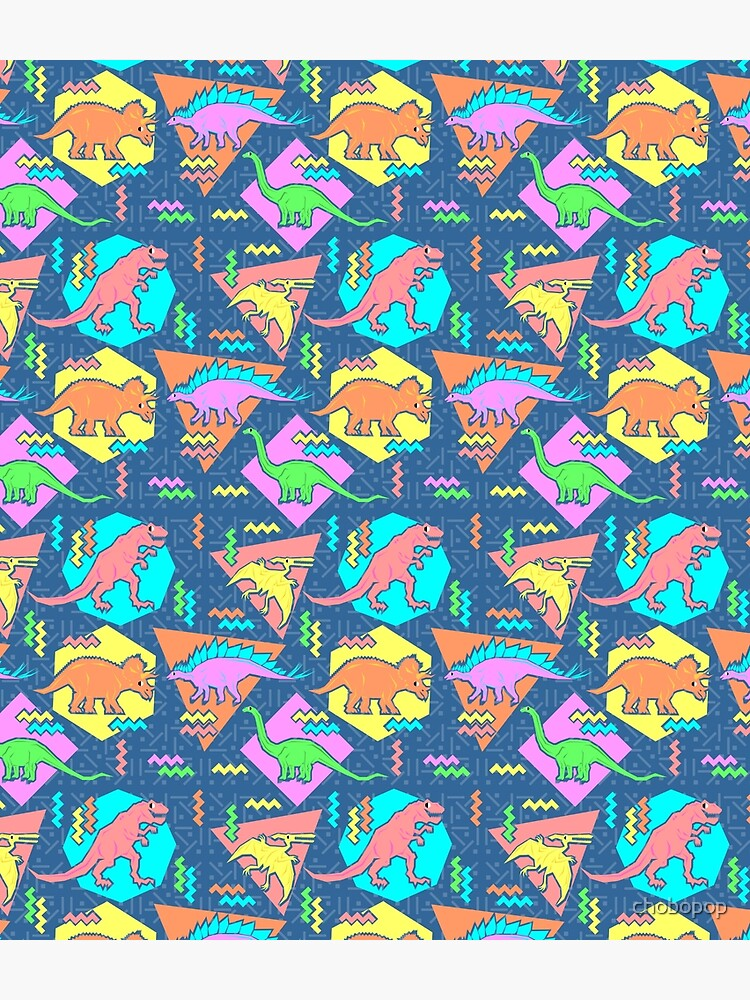 Nineties Dinosaurs Pattern by chobopop