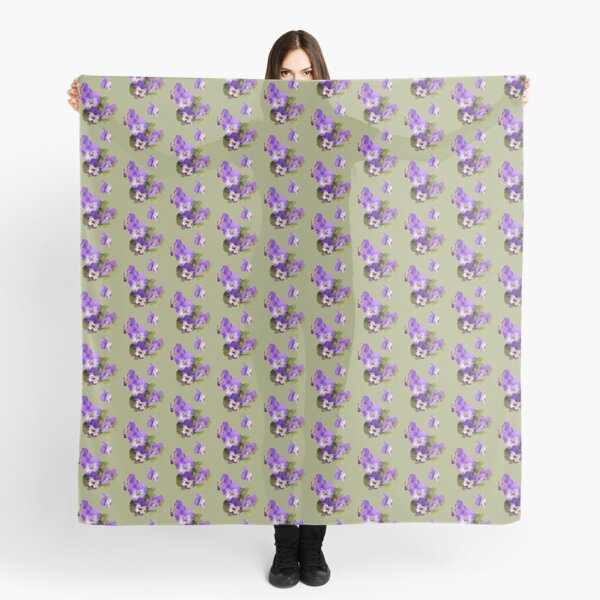 Purple pansies on green - just for fun Scarf